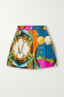 Versace Printed Silk-twill Shorts - Blue
