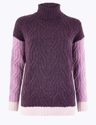 M&S CollectionMarks and Spencer Cable Knit Colour Block Roll Neck Jumper