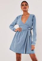 Missguided Light Blue Wrap Tie Denim Mini Dress