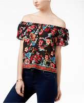 Amy Byer Juniors' Floral-Print Off-The-Shoulder Top