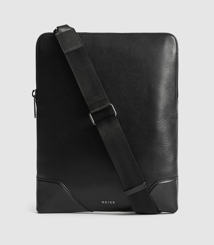 Reiss Elliott - Leather Laptop Messenger Bag in Black