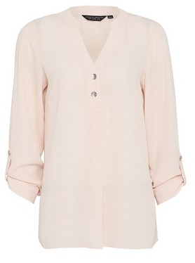 Dorothy Perkins Womens Peach Blush 2 Button Roll Sleeve Top