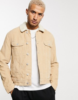 ASOS DESIGN cord western jacket with borg lining in tan