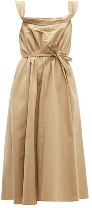 Brock Collection Patti Cowl-neck Cotton-faille Midi Dress - Womens - Beige