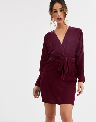 Asos Design DESIGN mini dress with batwing sleeve and wrap waist in velvet-Cream