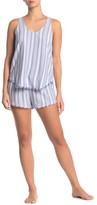 Cloth & Stone Frayed Hem Stripe Print Tank & Shorts 2-Piece PJ Set