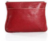 LAI Red Leather Zipper Closure Small Sized Clutch Handbag