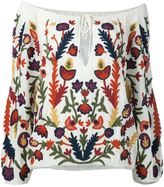 Alice + Olivia Alice+Olivia floral embroidery off-shoulder blouse