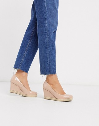 Dune anabel high heel wedges in nude