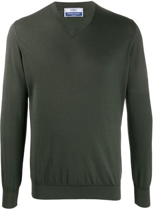 Fedeli V-neck cotton jumper