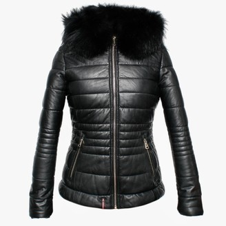 Oakwood Jelly Quilted Black Leather Hooded Jacket