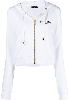 Balmain Cropped Logo Print Hooded Jacket