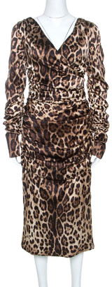 Dolce & Gabbana Brown Leopard Print Silk Ruched Midi Dress L