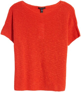 Eileen Fisher Jewel Neck Boxy Organic Cotton & Linen Sweater
