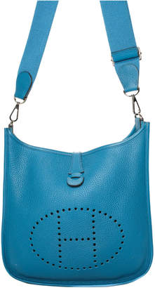 Hermes Blue Clemence Leather Colvert Evelyne Iii 29