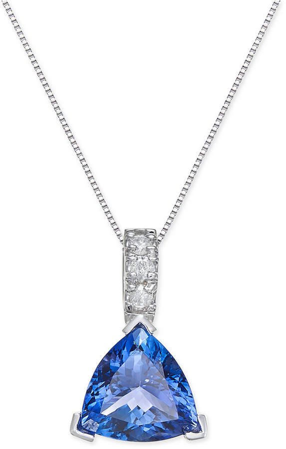 Macy's Tanzanite (3-1/2 ct. t.w.) and Diamond (1/10 ct. t.w.) Pendant Necklace in 14k White Gold