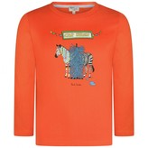 Paul Smith JuniorBoys Orange Zebra Car Wash Polar Top