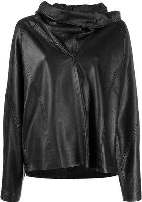 REMAIN Wide-Collar Pullover Leather Top