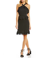 Gianni Bini Sohpie Ruffle Trim Halter Neck Dress