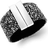 INC International Concepts Silver-Tone Hematite Stone Wide Bangle Bracelet