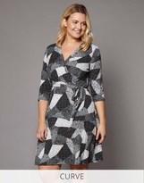 Yumi Curve Mono Pop Jersey Wrap Dress