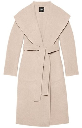 Theory Wool-Cashmere Shawl-Collar Coat