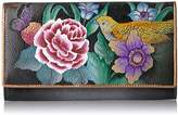 Anuschka Hand Painted Rfid Blocking Two Fold French Wallet Vintage Bouquet Wallet