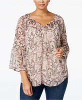 Style&Co. Style & Co. Plus Size Bell-Sleeve Sheer Peasant Top, Only at Macy's