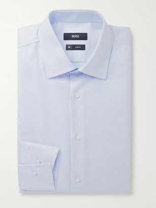 HUGO BOSS Sky-Blue Jango Slim-Fit Cotton-Jacquard Shirt