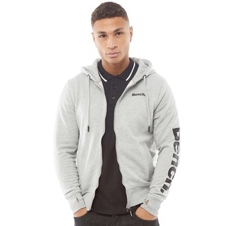 Bench Mens Broadway Sleeve Print ZT Hoodie Grey Marl