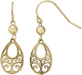 FINE JEWELRY Infinite Gold 14K Yellow Gold Filigree Teardrop Drop Earrings