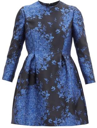 Valentino Delft-brocade Mini Dress - Black Blue