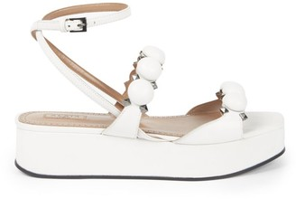 Alaia Bombe Leather Flatform Sandals