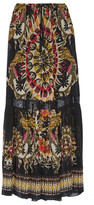 Roberto Cavalli Lace-trimmed Printed Silk-chiffon Maxi Skirt - Black