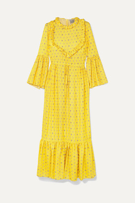 Preen by Thornton Bregazzi Tessa Ruffled Floral-jacquard Maxi Dress - Yellow