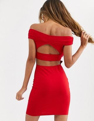 Bardot Asos Design ASOS DESIGN going out cut out back detail mini dress-Red
