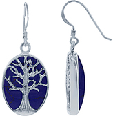 Simona Blue Lapis & Sterling Silver Tree of Life Drop Earrings