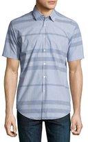 Burberry Modern Point Striped Short-Sleeve Sport Shirt, Light Blue