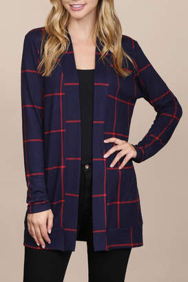 Riah Fashion Long-Sleeved-Open-Front Plaid Cardigan