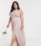 TFNC Plus Plus bridesmaid exclusive pleated maxi dress in pink