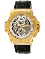 Reign Commodus REIRN4003 Men's Gold and Black Leather Automatic Watch