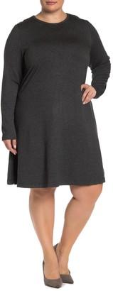 Workshop Long Sleeve Fleece Lined Sweatshirt Dress (Plus Size)