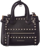 Burberry Banner Baby Studded Leather & Check Tote