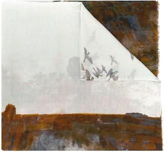 Faliero Sarti Abstract Bird Print Scarf