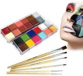 ZJchao 12 Colors Professional Body Facial Oil Painting Pigment + 6Pcs Colorful Paint Woody Cosmetic Brushes Art Painting Pen Tools