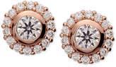 Nina Rose Gold-Tone Cubic Zirconia Halo Stud Earrings