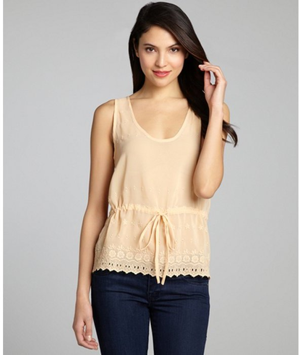 French Connection blush floral embroidered drawstring eyelet tank blouse