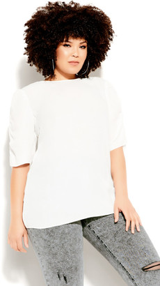 City Chic Ruched Sleeve Top - cream