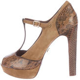 Tory Burch Embossed T-Strap Pumps