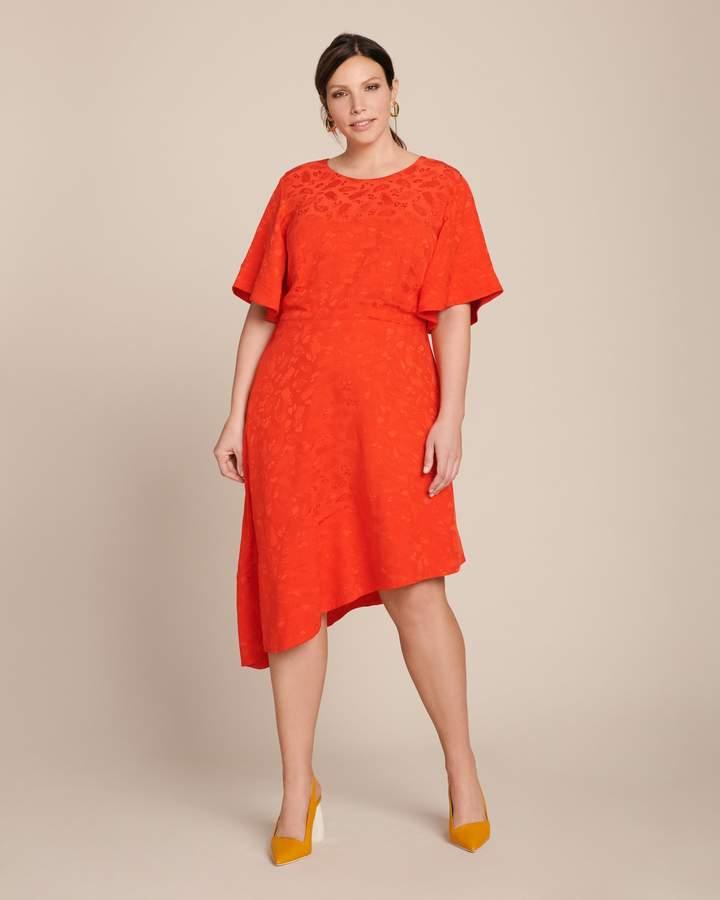 Brandon Maxwell Flare Sleeve Day Dress